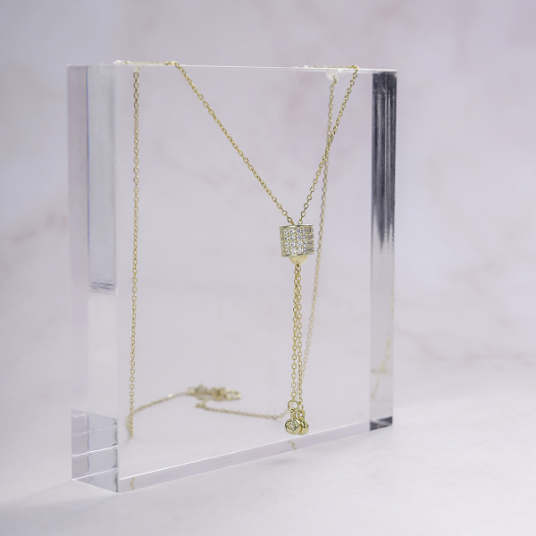 Dây Chuyền Nữ Bạc phủ vàng 18k Đính Đá thiết kế cá tính Necklace D0420003 - Trang sức Mon Lilas