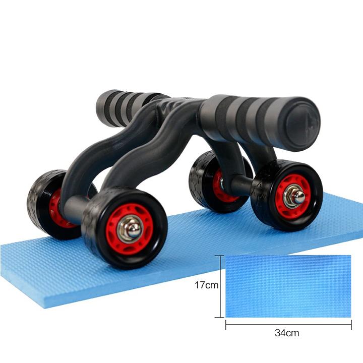 Con lăn tập cơ bụng 4 bánh cao cấp giá rẻ làm săn chắc cơ bụng, máy tập cơ bụng làm giảm mỡ bụng giảm cân, giảm eo chịu lực tốt cao cấp bên bỉ - kèm hộp và thảm lót đầu gối bst1224