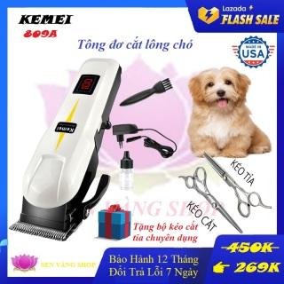 Tông đơ cắt lông chó kemei 809a - máy tông đơ cắt lông chó không dây chuyen nghiep + Tặng 2 kéo cắt tỉa chuyên dụng thumbnail