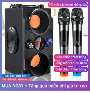 Loa Karaoke Bluetooth [2 Micro Không Dây], Di Động Loa Cao Cấp âm Thanh Vòm 8D, Loa âm Lượng Cực Đại 100W, Pin 2500 mA, Phát Liên Tục Trong 8 Giờ [Bảo Hành 12 Tháng] thumbnail