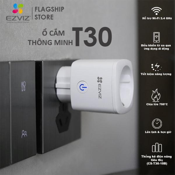 EZVIZ Ổ CẮM THÔNG MINH T30, Kết nối WI-FI, Điều Khiển Từ Xa Qua Ứng Dụng Di Động, Lên Lịch Hẹn Giờ, Chịu Lửa 750°C, Tiết kiệm năng lượng,Điều khiển bằng giọng nói GOOGLE&ALEXA --Hàng Chính Hãng--Bảo Hành 12 thá