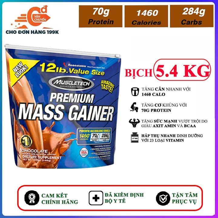 Sữa tăng cân tăng cơ Premium Mass Gainer của Muscle Tech bịch lớn 5.4 kg hỗ trợ tăng cân, tăng cơ nạc nhanh cho người tập gym và chơi thể thao, dễ hấp thu, không kén người dùng - thuc pham chuc nang nhập khẩu