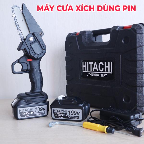 Máy cưa xích dùng pin HITACHI 199V - Máy cưa mini dây xích cắt tải cành cây tiện lợi - Máy cưa xích - Máy cưa xích chạy pin Pin chuẩn 10 cell - Lõi đồng nguyên chất - Cưa xích 4 inch - CÔNG SUẤT 800W