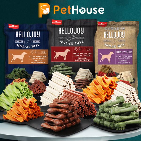 Xương gặm sạch răng Hello Joy 8 vị (800g) Bánh thưởng cho chó mèo thú cưng