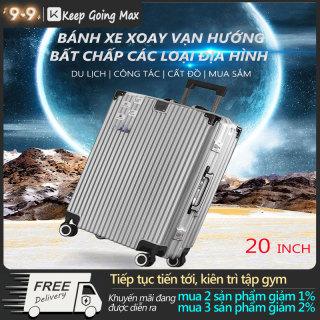 Vali du lịch vali xách tay kim loại 20inch 24inch hợp kim nhôm có mã số 4 bánh xe tay kéo dày hơn vali màu bạc hot trên mạng vali phong cách retro màu trơn Keep Going Max thumbnail