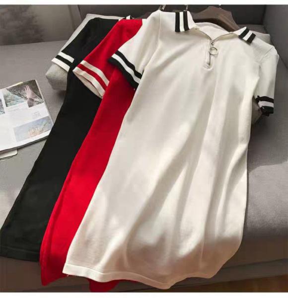Đầm suông cổ trụ phối viền thời trang vải thun co giãn mặc thoải mái. size 40-65kg