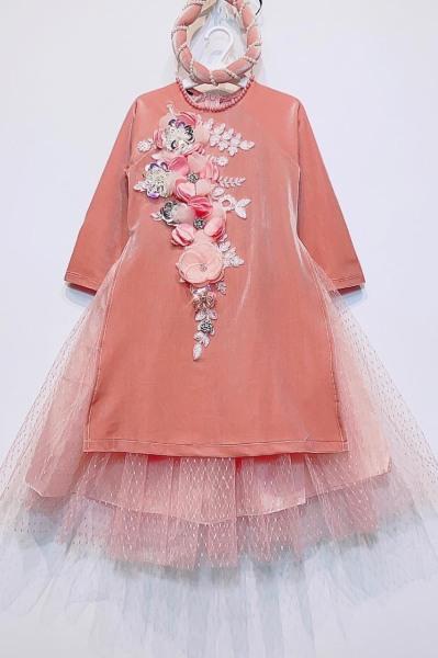 Giá bán Áo dài cho bé mặc tết chất nhung thêu hoa thiết kế cao cấp đính đá cho bé gái QATE01