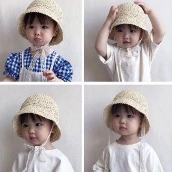 Giá bán Mũ cói em bé hàn quốc 1-5 tuổi