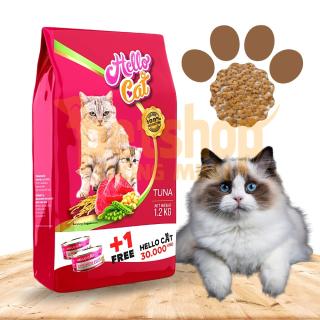 Thức Ăn Cho Mèo Mọi Lứa Tuổi Vị Cá Ngừ Hello Cat Tuna 1,2KG TẶNG Lon Pate Mùi Ngẫu Nhiên 190G thumbnail
