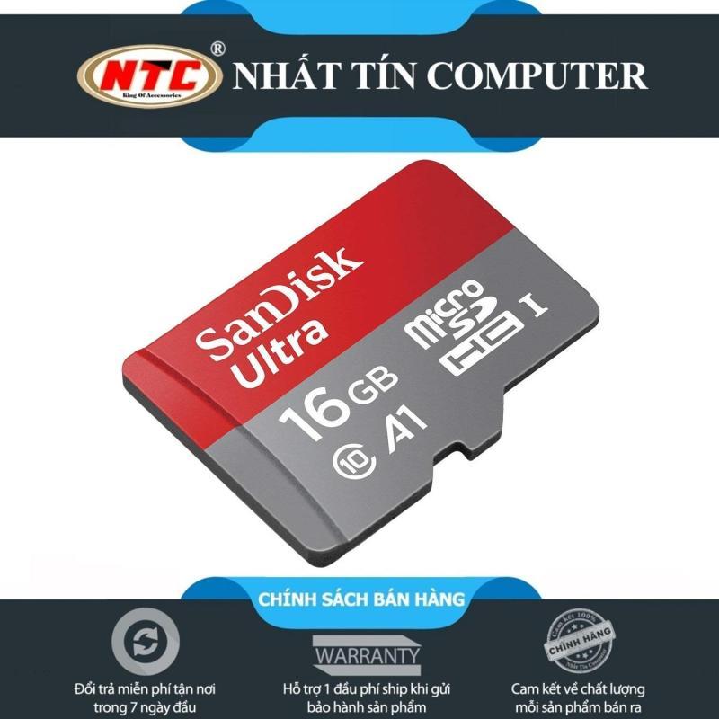 Thẻ nhớ MicroSDHC SanDisk Ultra A1 16GB Class 10 U1 98MB/s kèm adapter - new Version (Đỏ)