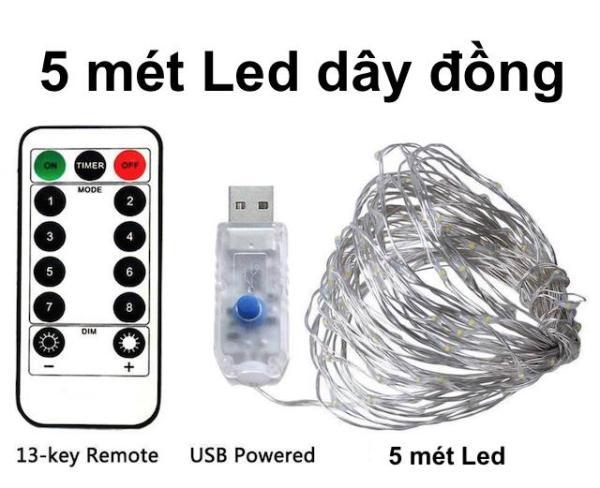 Dây đèn LED dây đồng 5m có Remote điều khiển, Dây đèn chớp nháy dùng trang trí nhà quán cafe, tiệc Giáng Sinh, Sinh nhật hoặc đón tết năm mới | Kyto Shop
