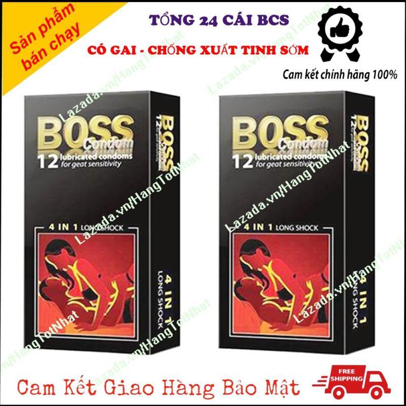 Combo 2x Bao Cao Su Boss 4 in 1 Kéo Dài Thời Gian Gân Gai Hộp 12 Cái [ Tổng 24 Cái ]