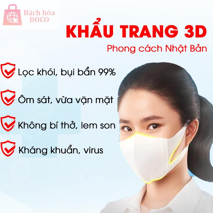 Khẩu trang 3D MP Pharco lọc bụi mịn, kháng khuẩn, kháng virus sản xuất công nghệ Nhật Bản (1 hộp/ 10 chiếc)