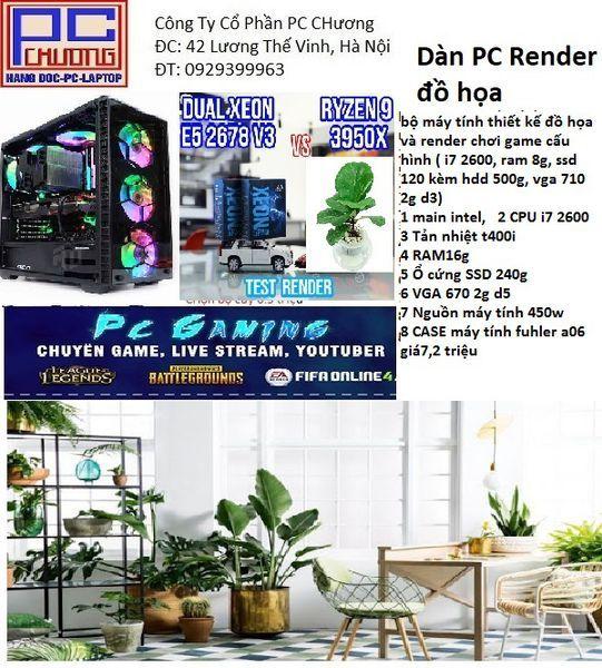 Bảng giá bộ máy tính thiết kế đồ họa và render chơi game cấu hình ( i7 2600, ram 8g, ssd 120 kèm hdd 500g, vga 710 2g d3) Phong Vũ
