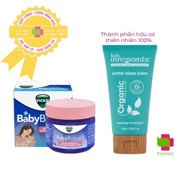 Dầu bôi ấm ngực Vicks Baby Balsam (50g)/Little Innoscents Organic (75ml), Úc chống cảm cho trẻ từ 3 tháng tuổi