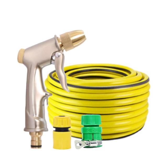 Vòi nước vòi phun nước rửa xe tưới cây tăng áp thông minh + bộ dây bơm nước 5m cao cấp TLG 701-1498 đầu đồng,nối vàng (vàng)
