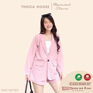 Set vest hồng công sở nữ - Blazer tay dài túi nấp phối quần short săn lai THOCA HOUSE hàng thiết kế may cao cấp thumbnail