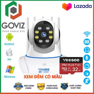 ( Tùy Chọn Thẻ Nhớ 32 64 128GB ) Camera Wifi Goviz Camera Yoosee 5 Râu 8 Led 3.0Mpx Full HD - Xem Đêm Có Màu thumbnail