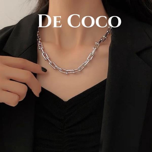 Vòng cổ titan dây xích cá tính mắt xích chữ U De Coco Decoco