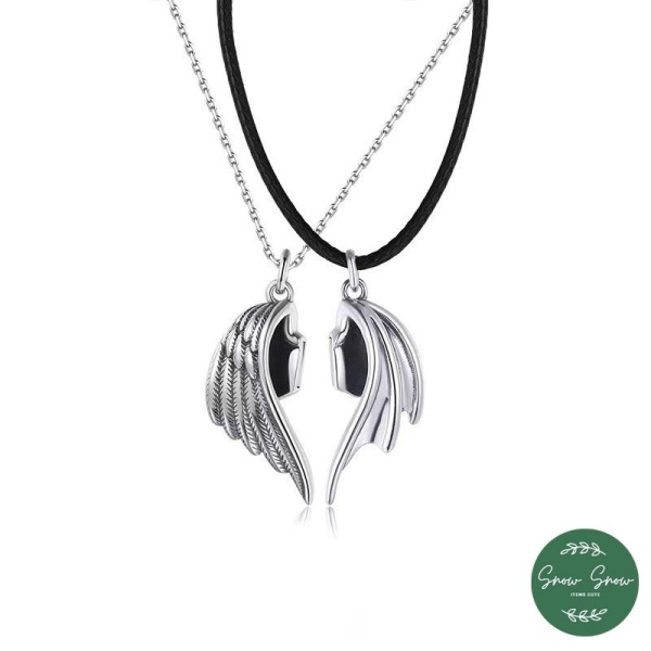 Dây Chuyền Đôi - Vòng cổ Cánh thiên thần ác quỷ dành cho cặp đôi bạc S925 thiết kế tinh tế phong cách Hàn Quốc DC01