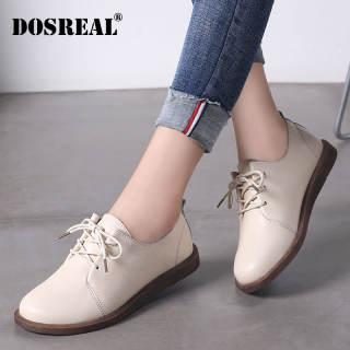 Giày Oxford Dosreal Cho Nữ Giày Da Đế Bệt Nữ Giày Trắng Thoáng Khí Ren Lên Giày Hàn Quốc Giày Nữ Đế Bằng