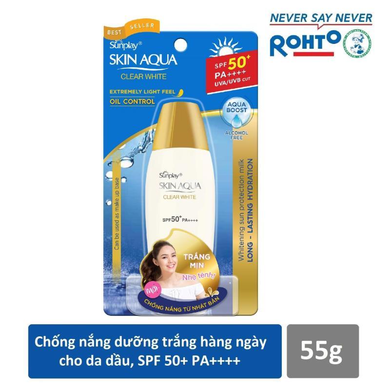 Sữa chống nắng hằng ngày dưỡng trắng Sunplay Skin Aqua Clear White SPF 50+, PA++++ 55g nhập khẩu