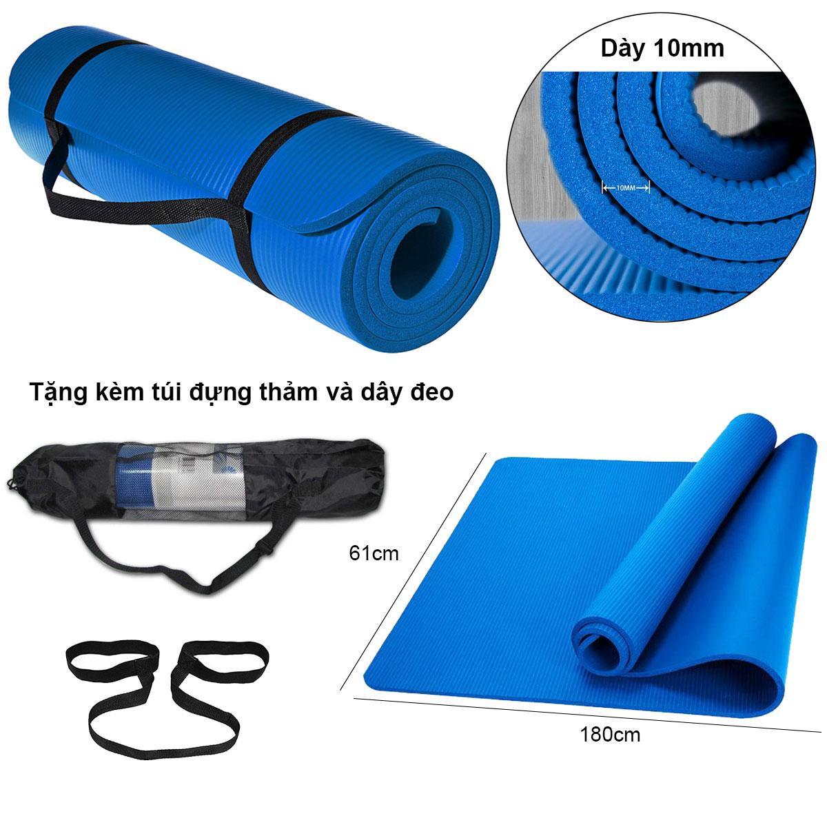 Thảm tập Yoga loại siêu bền, dày 10mm TPE - Tặng kèm túi đựng thảm