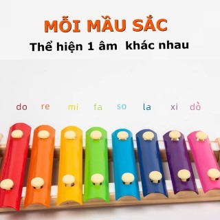 Đồ Chơi Trẻ Em Đàn Xylophone 8 Âm Bằng Gỗ Phát Triển Trí Não Và Cảm Quan Cho Bé Gái Và Trai Từ 1 Tuổi Trở Lên. 4