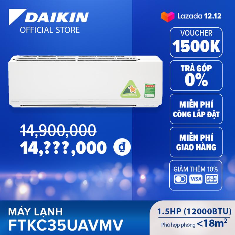 Máy Lạnh Daikin Inverter FTKC35UAVMV - 1.5HP (12000BTU) Tiết kiệm điện vượt trội - Luồng gió Coanda - Tinh lọc không khí - Khử ẩm 25% - Độ bền cao - Chống ẩm mốc - Chống ăn mòn - Làm lạnh nhanh - Hàng chính hãng
