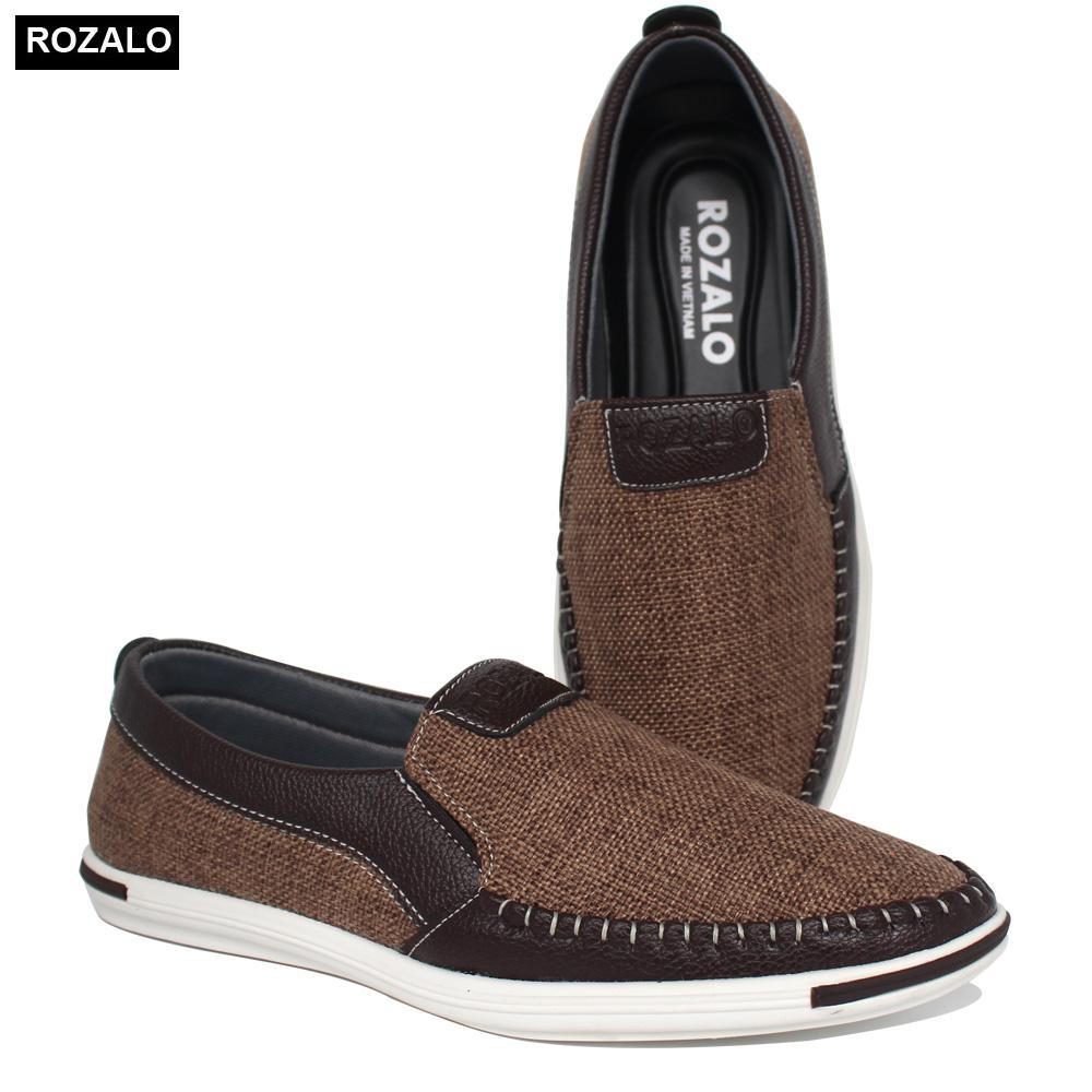 Giày lười vải khâu siêu bền thời trang nam Rozalo R4318