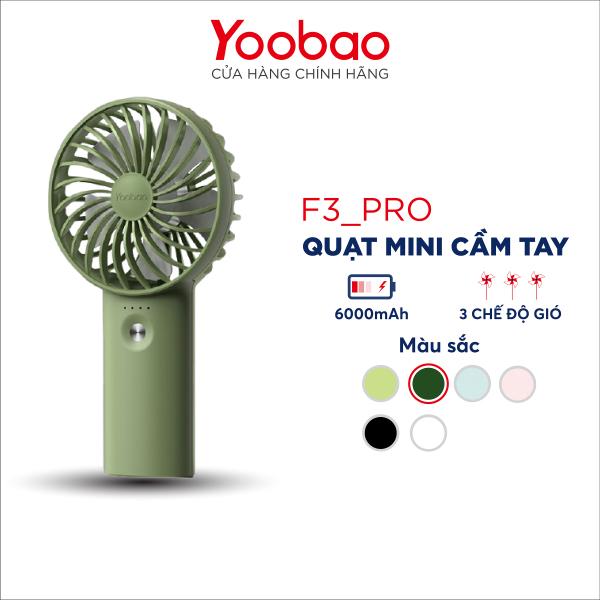 Quạt sạc tích điện mini cầm tay có thể đặt bàn kiêm pin sạc dự phòng Yoobao F3 Pro 6000/5000mAh   - Chính Hãng Yoobao