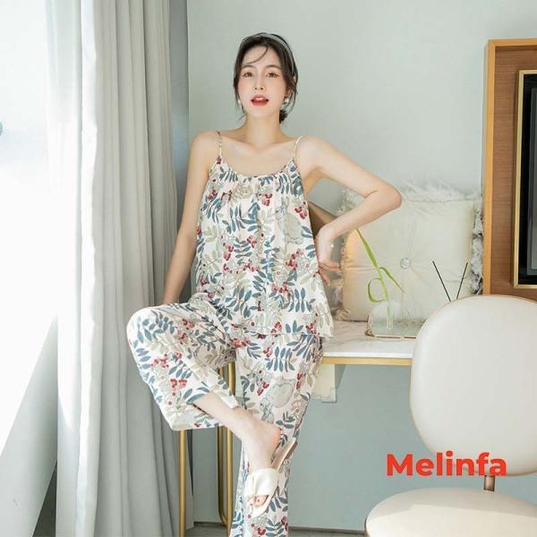 Nơi bán Bộ đồ nữ mặc nhà hai dây, quần dài chất vải lanh cotton thoáng mát nhiều màu, mã VABD0123