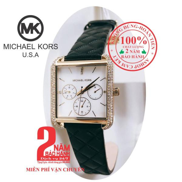 Đồng hồ nữ MK MK2769, vỏ Vàng (Gold), mặt Trắng bạc, dây da đen (Black), viền đồng hồ nạm đá pha lê Swarovski - MK2769