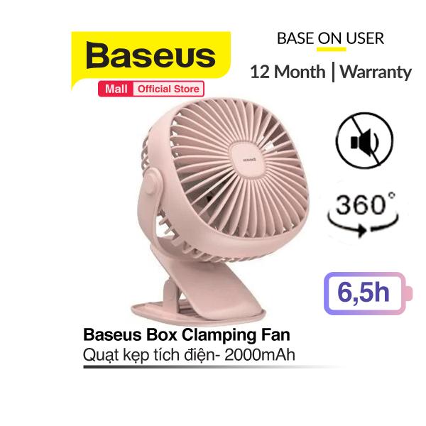Quạt kẹp mini để bàn Baseus Box Clamping Fan (Pin sạc 2000mAh, 3 cấp tốc độ, đèn LED, xoay 360 độ )