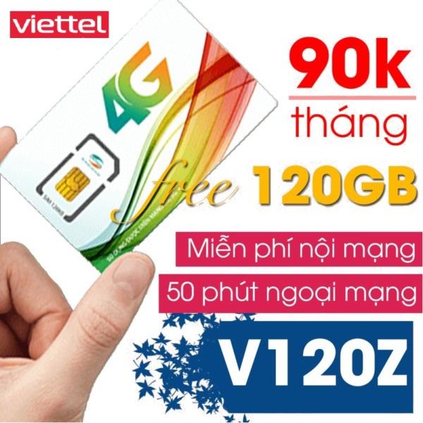 Sim 4G Viettel V120Z (V90) gói 4GB/ngày (120Gb/tháng) + 50 Phút gọi ngoại mạng + Gọi nội mạng miễn phí chỉ voi 90k/thang,( Chỉ áp dụng cho khách hàng ở HCM, Đà Nẵng và Cần Thơ)