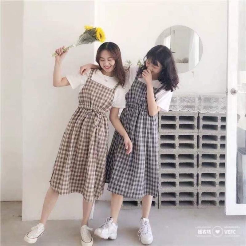 [bán chạy] Váy yếm kẻ caro chất kate thoáng mát cho nữ có thể mặc đôi mặc nhóm cực xinh