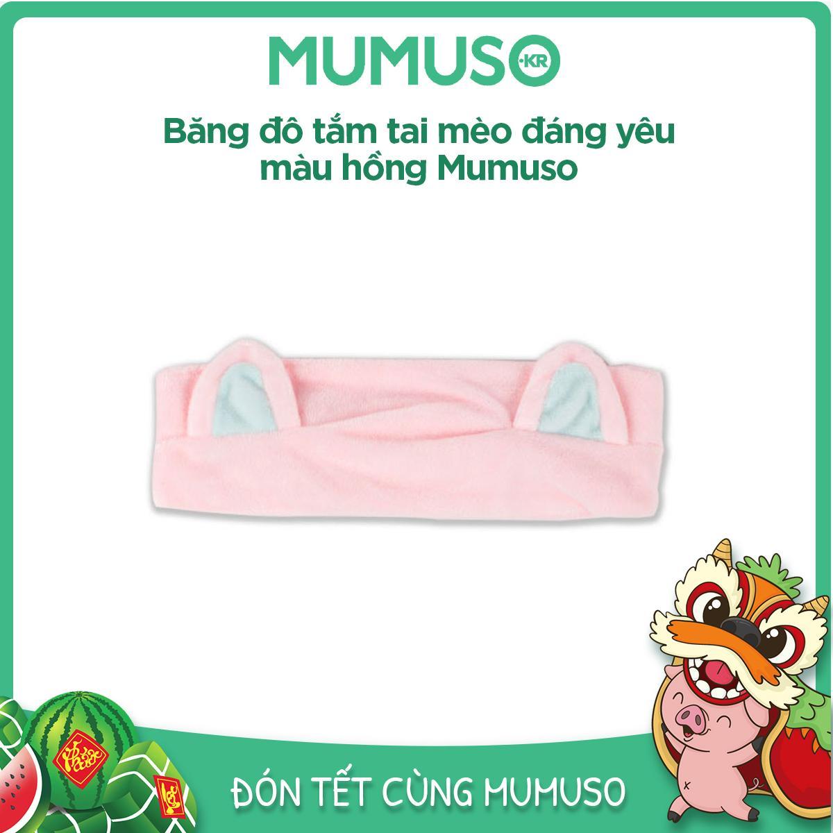Băng đô tắm tai mèo đáng yêu màu hồng Mumuso