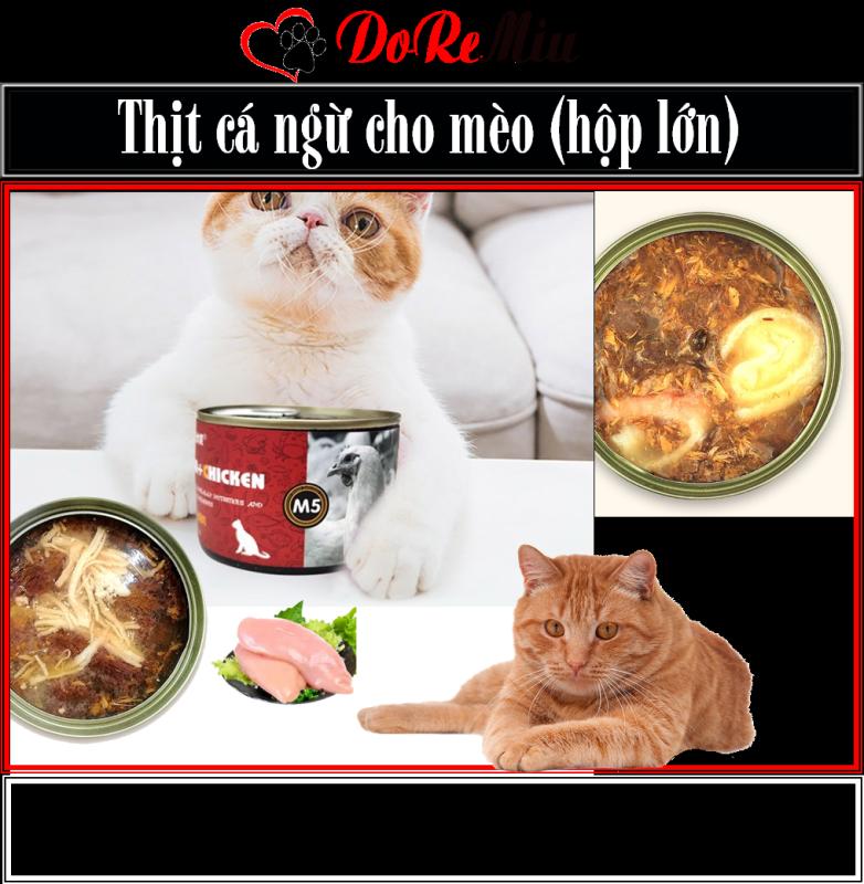 Doremiu- Thịt cá ngừ đóng hộp lớn (Lon 170gr 6 vị) đồ ăn vặt cho mèo mọi lứa tuổi Pate Lontừ thịt cá ngừ thật 100%