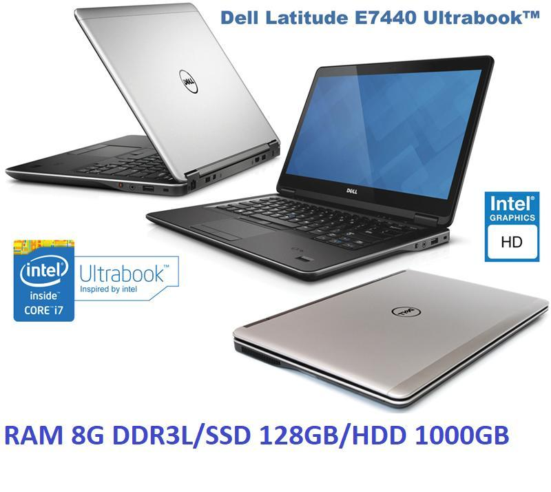 Laptop Dell E7440 Core i7 4600U Ram 8G SSD 128G HDD 1TB 14in Ultrabook 1.7kg-Tặng Balo, chuột wireless