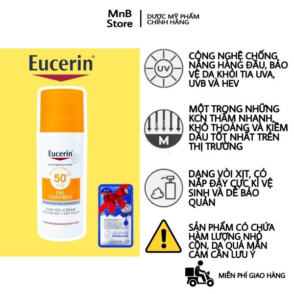 Kem chống nắng kiềm dầu Eucerin Oil Control kiềm dầu không gây mụn cho da dầu, nhạy cảm, da mụn - MnB Store -