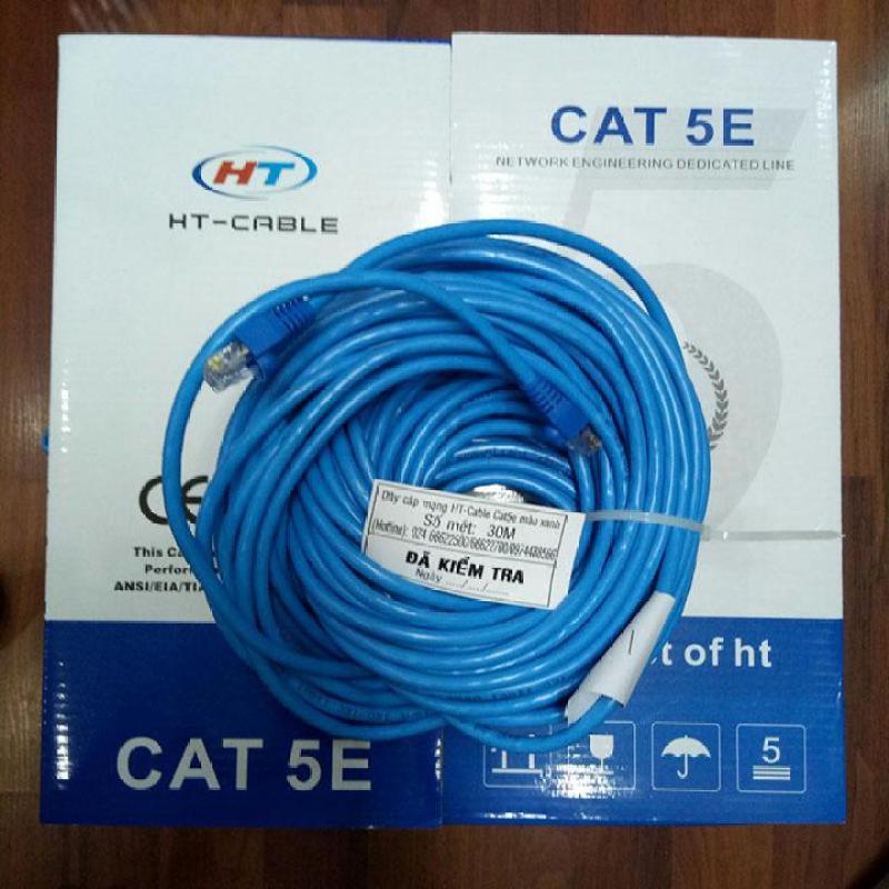 Bảng giá Dây cáp mạng CAT5E UTP - 30 Mét bấm sẵn 2 đầu (Màu xanh, Mới 100%) Phong Vũ