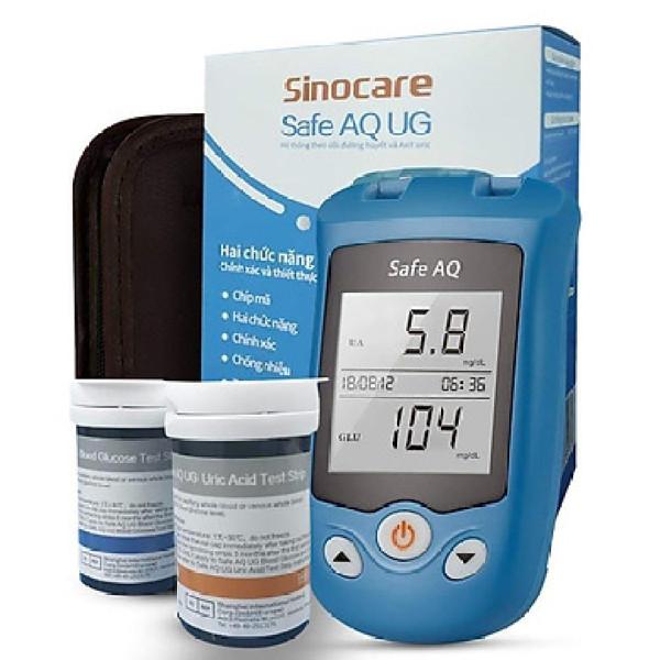 Nơi bán Máy đo đường huyết, Axit Uric 2 trong 1 Sinocare Safe AQ UG Tặng kèm 50 que thử đường huyết và 50 que thử Axit Uric + tặng đồng hồ