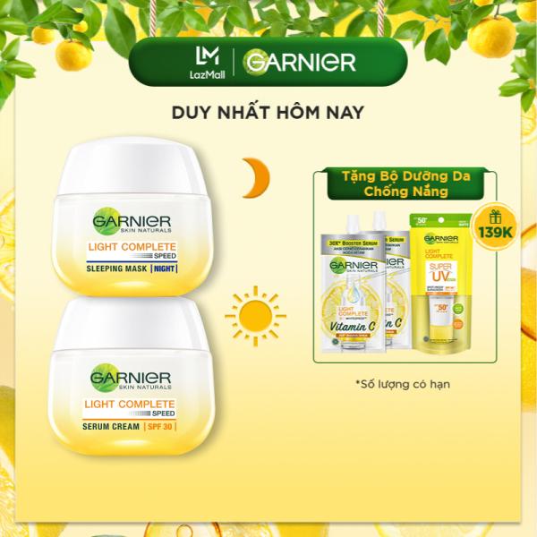 [Voucher giảm 10%] Bộ kem dưỡng da ngày đêm làm sáng và đều màu da Garnier Light Complete Vitamin C Serum Cream 50ml giá rẻ