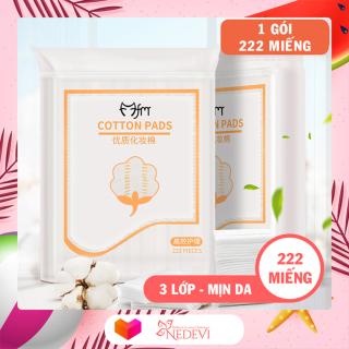 Nedevi - Bộ 4 gói bông tẩy trang Magic Lady 222 miếng gói - 100% cotton không xơ bông, thấm hút dễ dàng, thân thiện với làn da - Phụ kiện trang điểm, tẩy trang, thấm dầu thumbnail