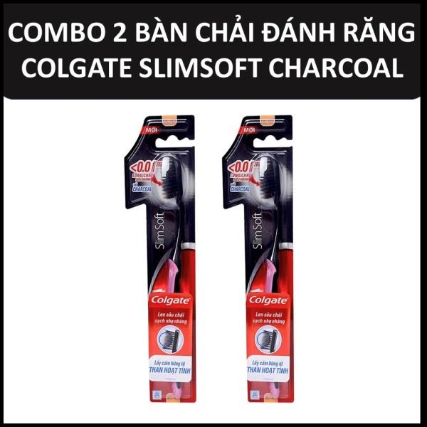 Bộ 2 bàn chải đánh răng Colgate Than hoạt tính kháng khuẩn Slimsoft Charcoal mềm mảnh 2 cây/bộ giá rẻ