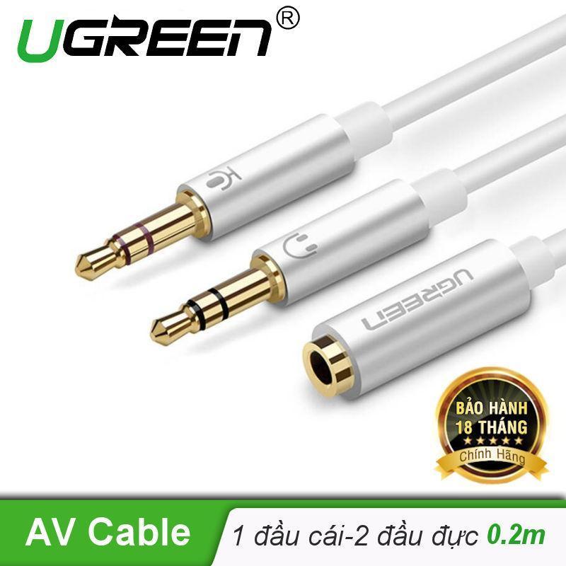Bảng giá Dây Audio chuyển tai nghe 3.5mm sang 2 đầu Mic và Tai nghe đầu mạ vàng dài 20CM UGREEN AV140 10790 - Hãng phân phối chính thức Phong Vũ