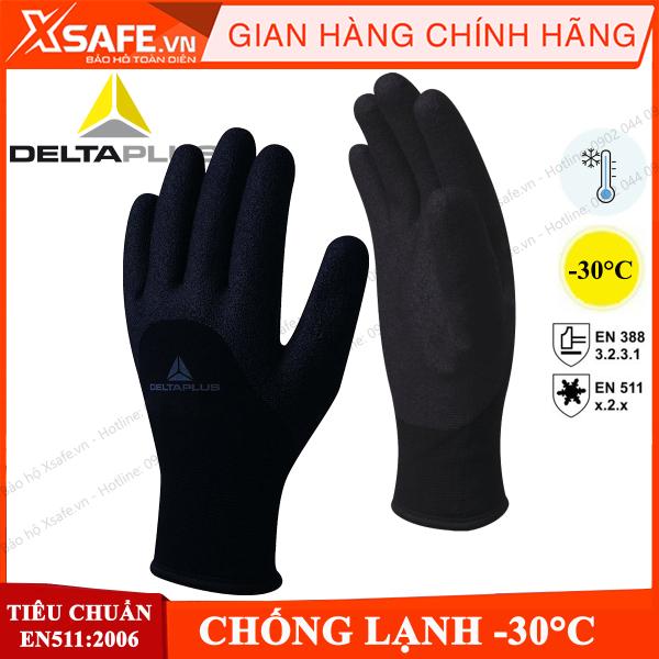 Găng tay chống lạnh -30 độ C Deltaplus VV750 bao tay chịu lạnh, chống hóa chất, phủ Nitrile chống trượt, độ linh hoạt cao, không chứa DMF, an toàn với thực phẩm - Chính hãng [XSAFE] [XTOOL]