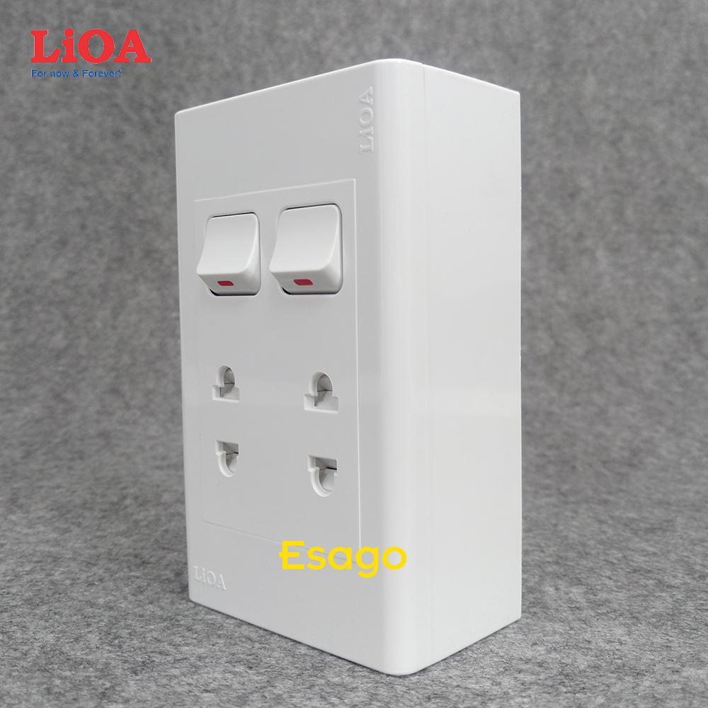 Combo ổ cắm điện đôi 2 chấu 16A (3520W) + 2 công tắc điện LiOA Lắp nổi giá rẻ