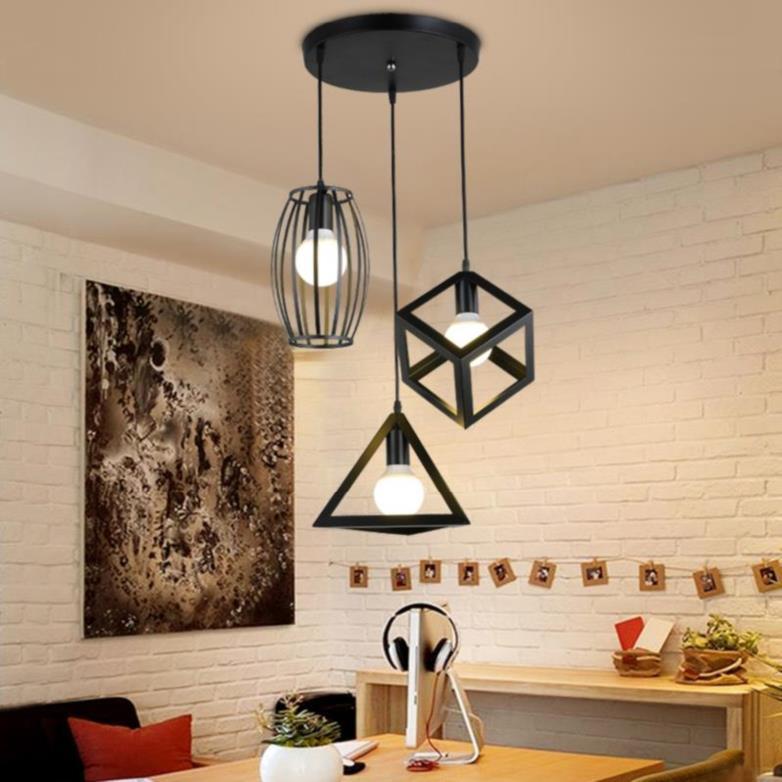 Deal Giảm Giá Đèn Chùm Thả 3 đèn Bàn ăn Phòng Khách đèn Thả Hình Học Hiện đại