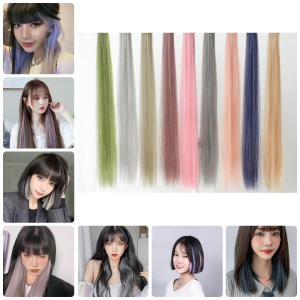 Tóc Giả Kẹp Nhuộm Màu Highlight Sành Điệu - Tóc Nối Giả Dạng Thẳng Phong Cách Hàn Quốc